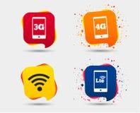 Icônes mobiles de télécommunication 3G, 4G et LTE Photos libres de droits