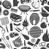 Icônes modèle ou fond sans couture de barbecue de vecteur Photographie stock