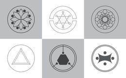 Icônes modernes d'alchimie illustration de vecteur