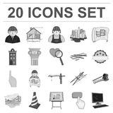 Icônes monochromes d'architecture et de construction dans la collection d'ensemble pour la conception Actions de symbole de vecte Image libre de droits