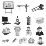 Icônes monochromes d'architecture et de construction dans la collection d'ensemble pour la conception Actions de symbole de vecte Photographie stock