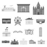 Icônes monochromes de réparation de bâtiment dans la collection d'ensemble pour la conception Le matériau et les outils de constr Photo stock
