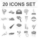 Icônes monochromes de temps différent dans la collection d'ensemble pour la conception Les signes et les caractéristiques du temp illustration libre de droits