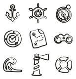 Icônes nautiques à main levée Photo stock