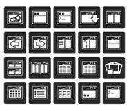 Icônes noires d'application, de programmation, de serveur et d'ordinateur Photographie stock libre de droits