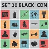 Icônes noires d'architecture et de construction dans la collection d'ensemble Image libre de droits