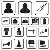 Icônes noires d'architecture et de construction dans la collection d'ensemble pour la conception Web d'actions de symbole de vect Photo libre de droits