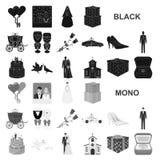 Icônes noires de épouser et d'attributs dans la collection d'ensemble pour la conception Web d'actions de symbole de vecteur de n illustration libre de droits