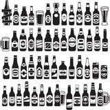 Icônes noires de bouteilles à bière de vecteur réglées Images libres de droits