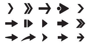 Icônes noires de flèche réglées Concept différent de forme, bouton d'Internet d'isolement sur le fond blanc, conception graphique illustration stock