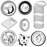 Icônes noires 2 de pièce de monnaie Images libres de droits
