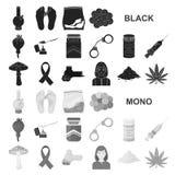 Icônes noires de toxicomanie et d'attributs dans la collection d'ensemble pour la conception Web d'actions de symbole de vecteur  illustration de vecteur