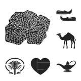 Icônes noires des Emirats Arabes Unis de pays dans la collection d'ensemble pour la conception Tourisme et Web d'actions de symbo Illustration de Vecteur