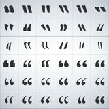 Icônes noires ensemble, illustration de marque de citation de vecteur d'isolement sur le fond blanc illustration stock