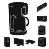Icônes noires futées d'appareils ménagers dans la collection d'ensemble pour la conception Web moderne d'actions de symbole de ve Image libre de droits