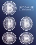 Icônes numériques et symboles de vecteur de devise de Bitcoin Pièces de monnaie symboliques de crypto devise avec le symbole de b Photographie stock