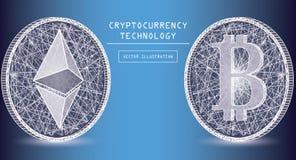Icônes numériques et symboles de vecteur de devise d'Ethereum Cryptos pièces de monnaie de marque de devise Photographie stock