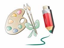 Icônes originales, créatives et lumineuses pour des outils de dessin illustration stock