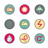 Icônes originales de temps et de précipitation illustration libre de droits