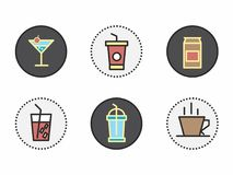 Icônes originales et créatives des boissons illustration stock