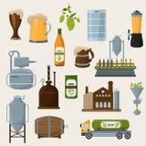 Icônes orthogonales de bière réglées Photographie stock