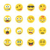 Icônes plates d'émoticônes illustration de vecteur