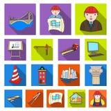 Icônes plates d'architecture et de construction dans la collection d'ensemble pour la conception Web d'actions de symbole de vect Image stock