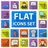 Icônes plates d'architecture et de construction dans la collection d'ensemble pour la conception Web d'actions de symbole de vect Images stock