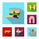 Icônes plates d'Inde de pays dans la collection d'ensemble pour la conception L'Inde et le point de repère dirigent l'illustratio Photographie stock