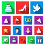 Icônes plates de épouser et d'attributs dans la collection d'ensemble pour la conception Web d'actions de symbole de vecteur de n Image stock