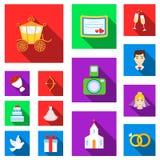 Icônes plates de épouser et d'attributs dans la collection d'ensemble pour la conception Web d'actions de symbole de vecteur de n Photographie stock libre de droits