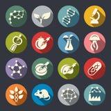Icônes plates de cercle de thème de la science de biotechnologie illustration stock