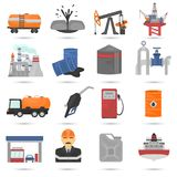 Icônes plates de couleur d'industrie d'huile et de GUS réglées Image libre de droits