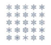 Icônes plates de flocon de neige réglées Collection de flocons de neige géométriques mignons, chutes de neige stylisées Élément d Images stock