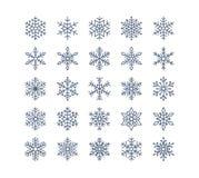 Icônes plates de flocon de neige réglées Collection de flocons de neige géométriques mignons, chutes de neige stylisées Élément d Photos stock