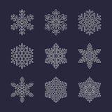 Icônes plates de flocon de neige réglées Collection de flocons de neige géométriques mignons, chutes de neige stylisées Élément d Images libres de droits