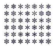 Icônes plates de flocon de neige réglées Collection de flocons de neige géométriques mignons, chutes de neige stylisées Élément d Photographie stock