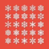 Icônes plates de flocon de neige réglées Collection de flocons de neige géométriques mignons, chutes de neige stylisées Élément d Photos libres de droits