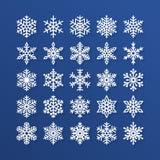 Icônes plates de flocon de neige réglées Collection de flocons de neige géométriques mignons, chutes de neige stylisées Élément d Photo libre de droits
