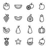 Icônes plates de fruit Photos libres de droits