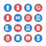 Icônes plates de glyph de réfrigérateurs Le réfrigérateur dactylographie, congélateur, refroidisseur de vin, appareil principal c illustration stock