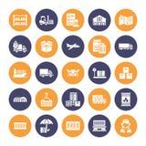 Icônes plates de glyph de transport de cargaison troquant, la livraison express, logistique, expédition, douane, paquet, dépistan illustration libre de droits