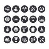 Icônes plates de glyph de vecteur de courses d'automobiles Expédiez les signes automatiques de championnat - voie, automobile, co Photographie stock