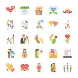 Icônes plates de jour de parents Image libre de droits