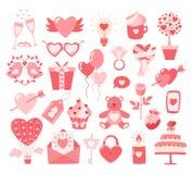 Icônes plates de jour de valentines d'isolement sur le fond blanc Concept d'amour Élément de conception pour des fiançailles, fia illustration stock