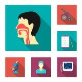 Icônes plates de médecine et de traitement dans la collection d'ensemble pour la conception Web d'actions de symbole de vecteur d Image stock