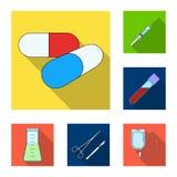 Icônes plates de médecine et de traitement dans la collection d'ensemble pour la conception Web d'actions de symbole de vecteur d Photos libres de droits