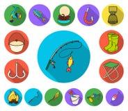 Icônes plates de pêche et de repos dans la collection d'ensemble pour la conception Attirail pour pêcher l'illustration de Web d' illustration libre de droits