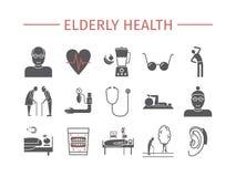 Icônes plates de santé pluse âgé réglées Infographics de vecteur illustration de vecteur