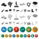 Icônes plates de temps différent dans la collection d'ensemble pour la conception Les signes et les caractéristiques du temps dir illustration stock